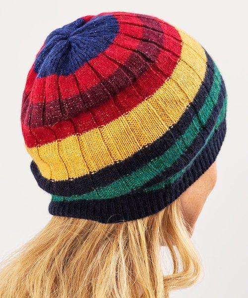 Cashmere Blend 70s Stripe Hat Wool Striped Beanie