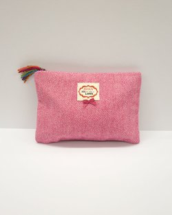 Herringbone Pouch in Pink