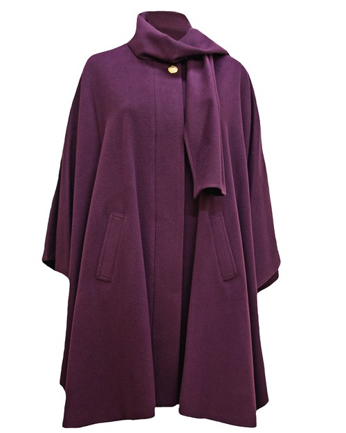 Cashmere Blend Berry Cape in Purple