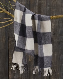 Grey Check Merino Scarf