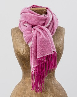 Cashmere Wool Sandymount Scarf in Pink and White