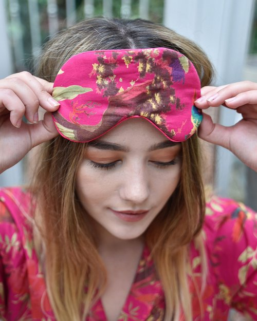 Hot Pink Satin Backed Bird Eye Mask