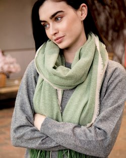 Cashmere Wool Sandymount Scarf In Green Grass