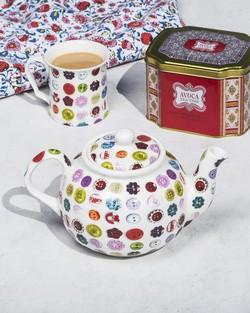 Four Cup Button Teapot