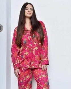 Cotton Hot Pink Bird Pyjamas