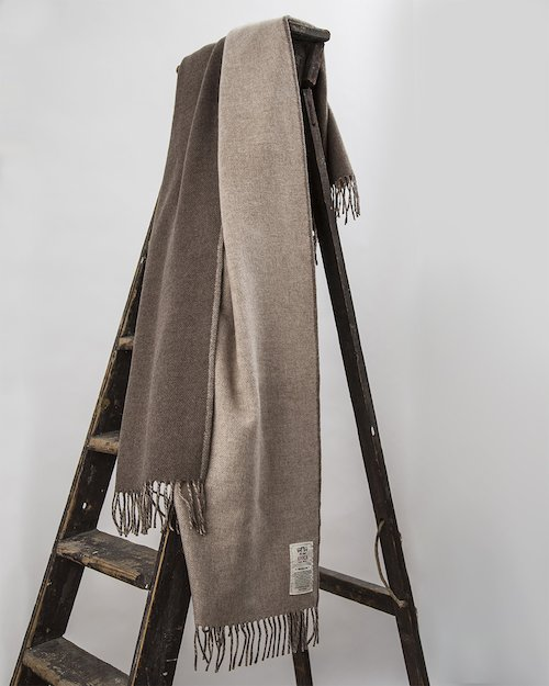 Stella Cashmere Throw in Beige and Brown