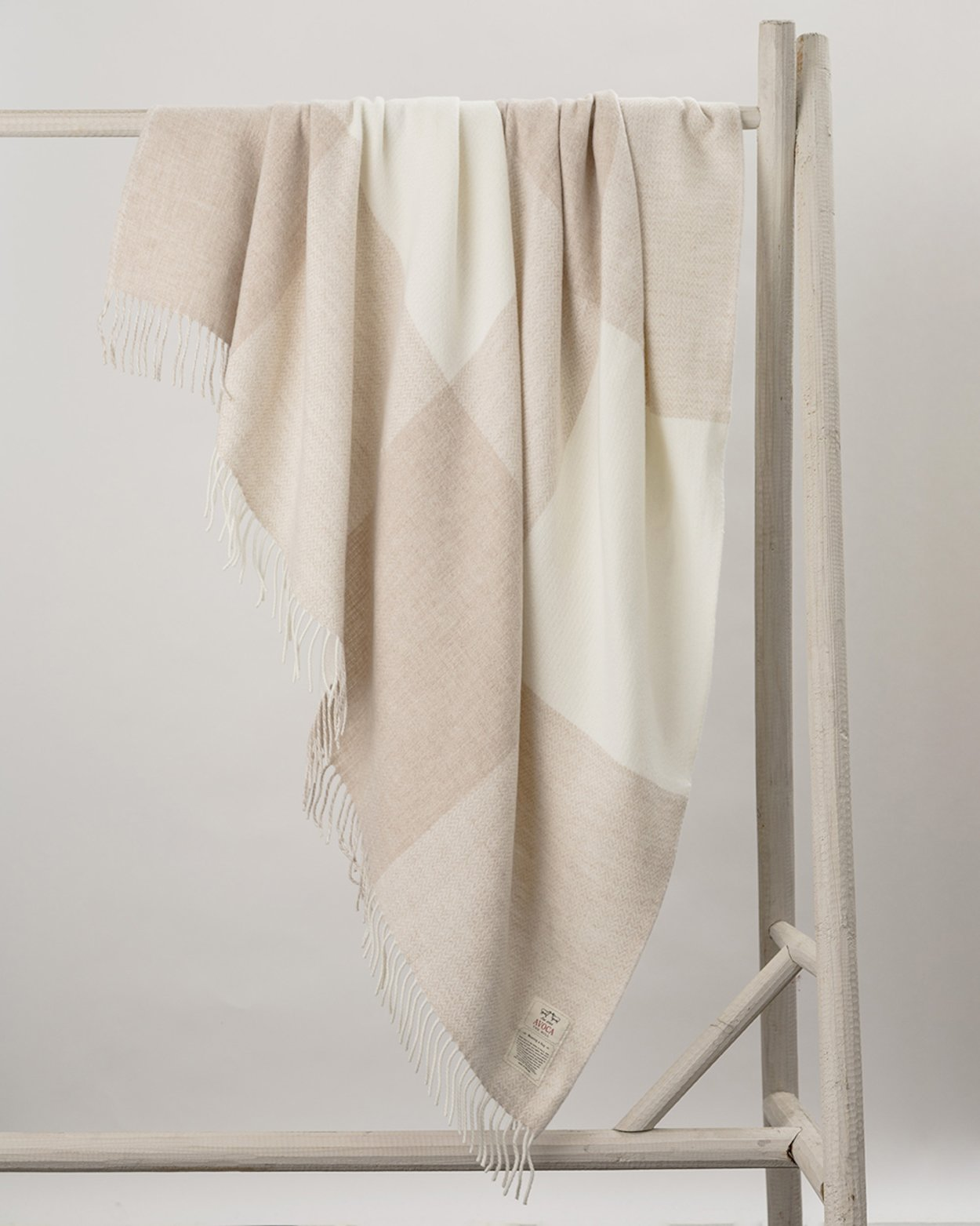Stella Cashmere Blend Throw in Cream Check
