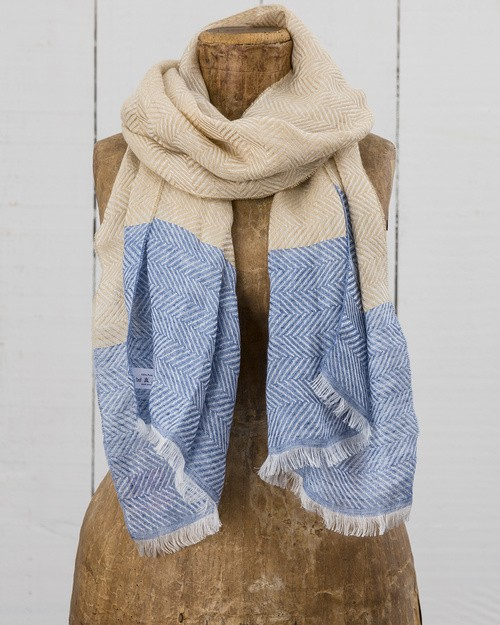 Art Linen Herringbone Weave Scarf in Blue and Beige