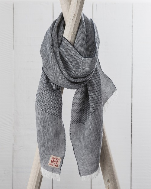 Art Linen Multi Weave Scarf in Black