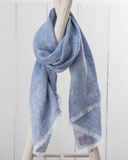 Art Linen Multi Weave Scarf in Blue
