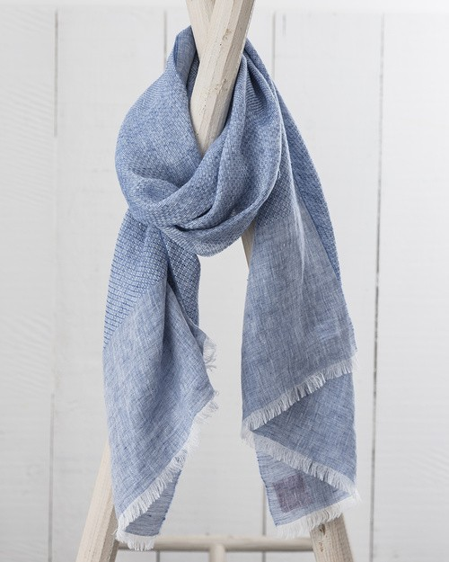 Art Linen Multi Weave Scarf in Blue