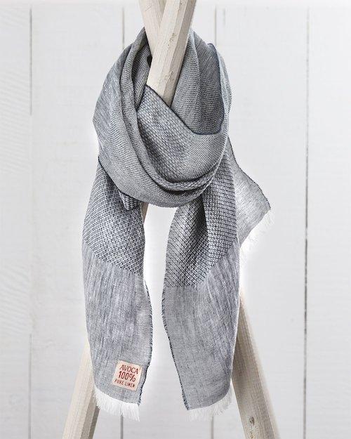 Art Linen Multi Weave Scarf in Grey