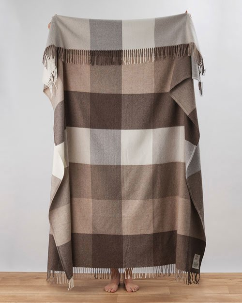 Venice Cashmere Throw in Beige and Brown
