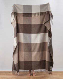 Venice Cashmere Blend Throw in Beige and Brown