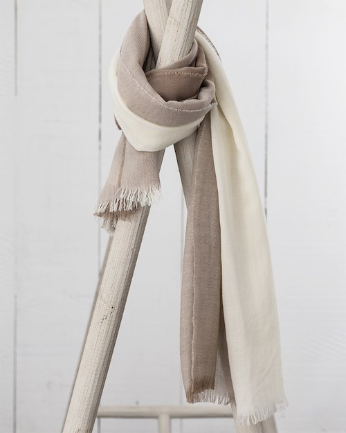 Worsted Wrap in White and Stone