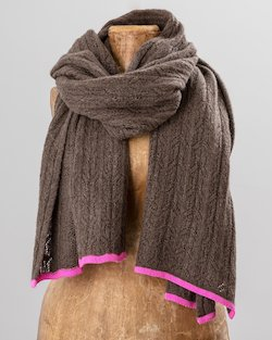Cashmere Blend Wrap Scarf with Neon Trim