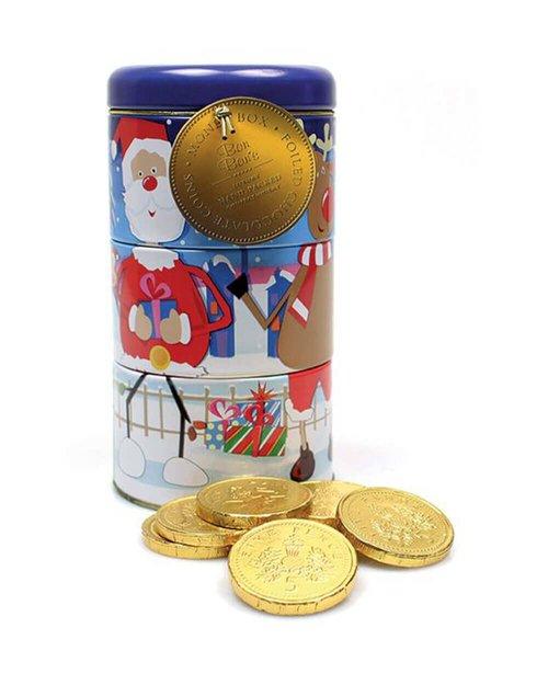 Twistable Christmas Money Tin & Chocolate Coins