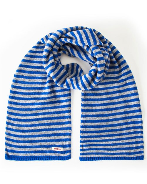 Park Cashmere Wool Blend Knitted Scarf in Blue & Grey