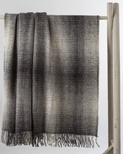Grey and White Heavy Herringbone Throw