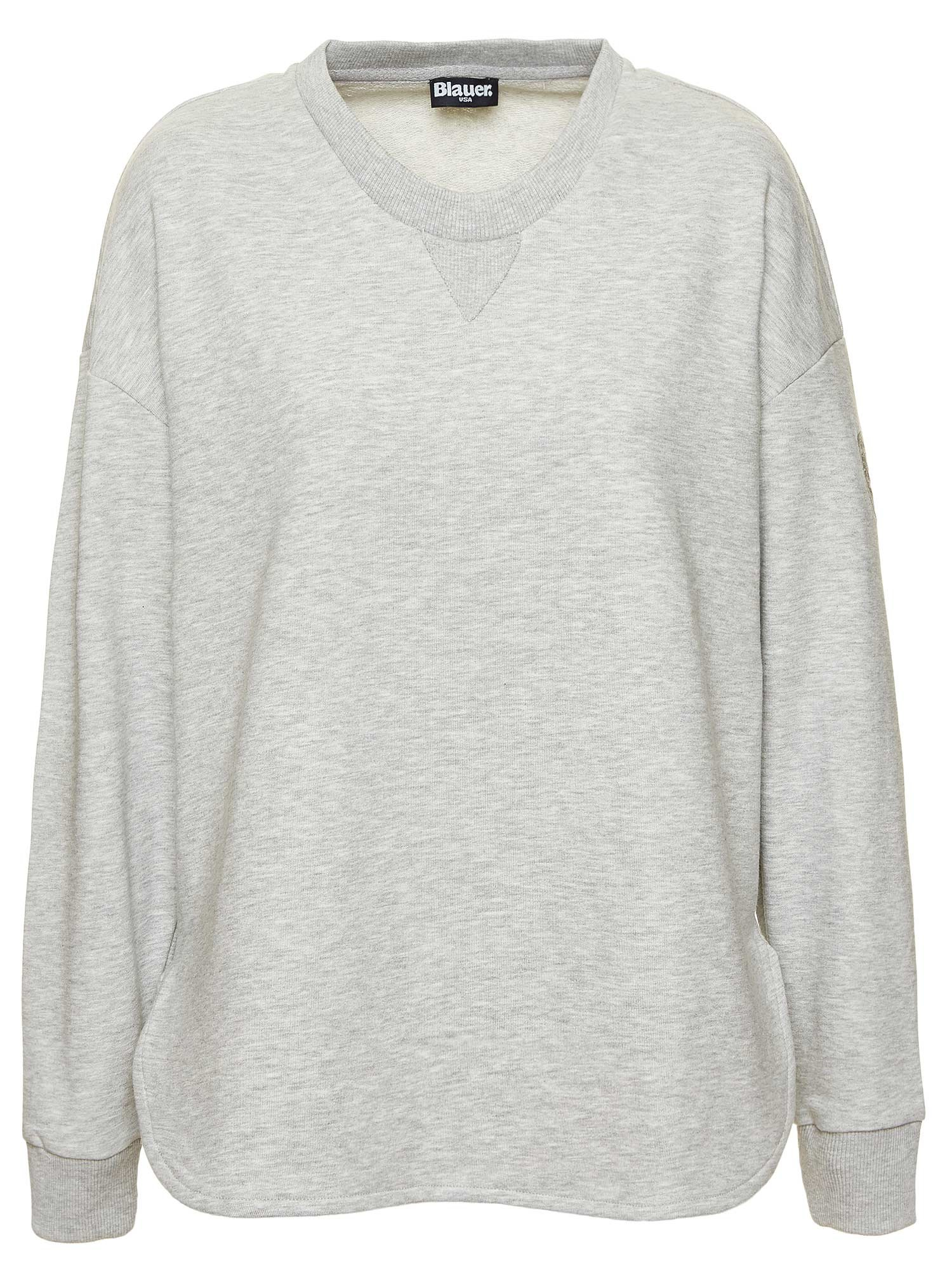 Blauer - MELANGE CREW NECK SWEATSHIRT - Light Grey - Blauer