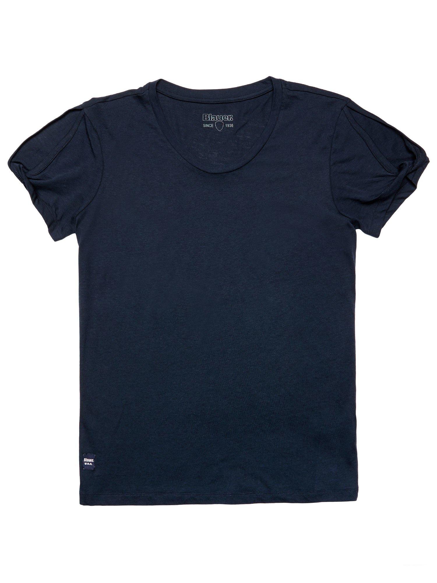 Blauer - CUT OUT COTTON MODAL T-SHIRT - Dark Night Blue - Blauer