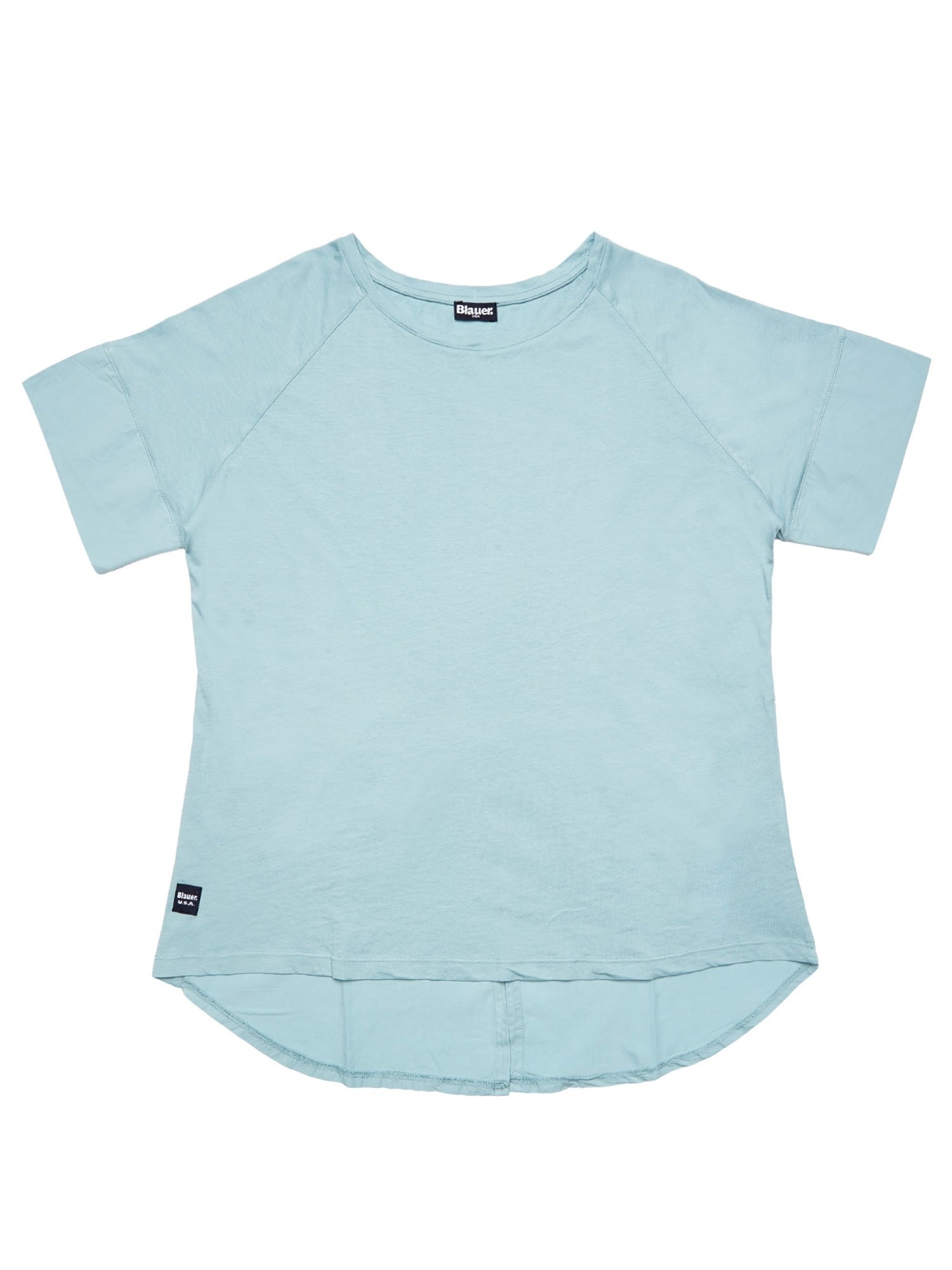 Blauer - T-SHIRT WITH BACK SLIT - Blue Dolphin - Blauer
