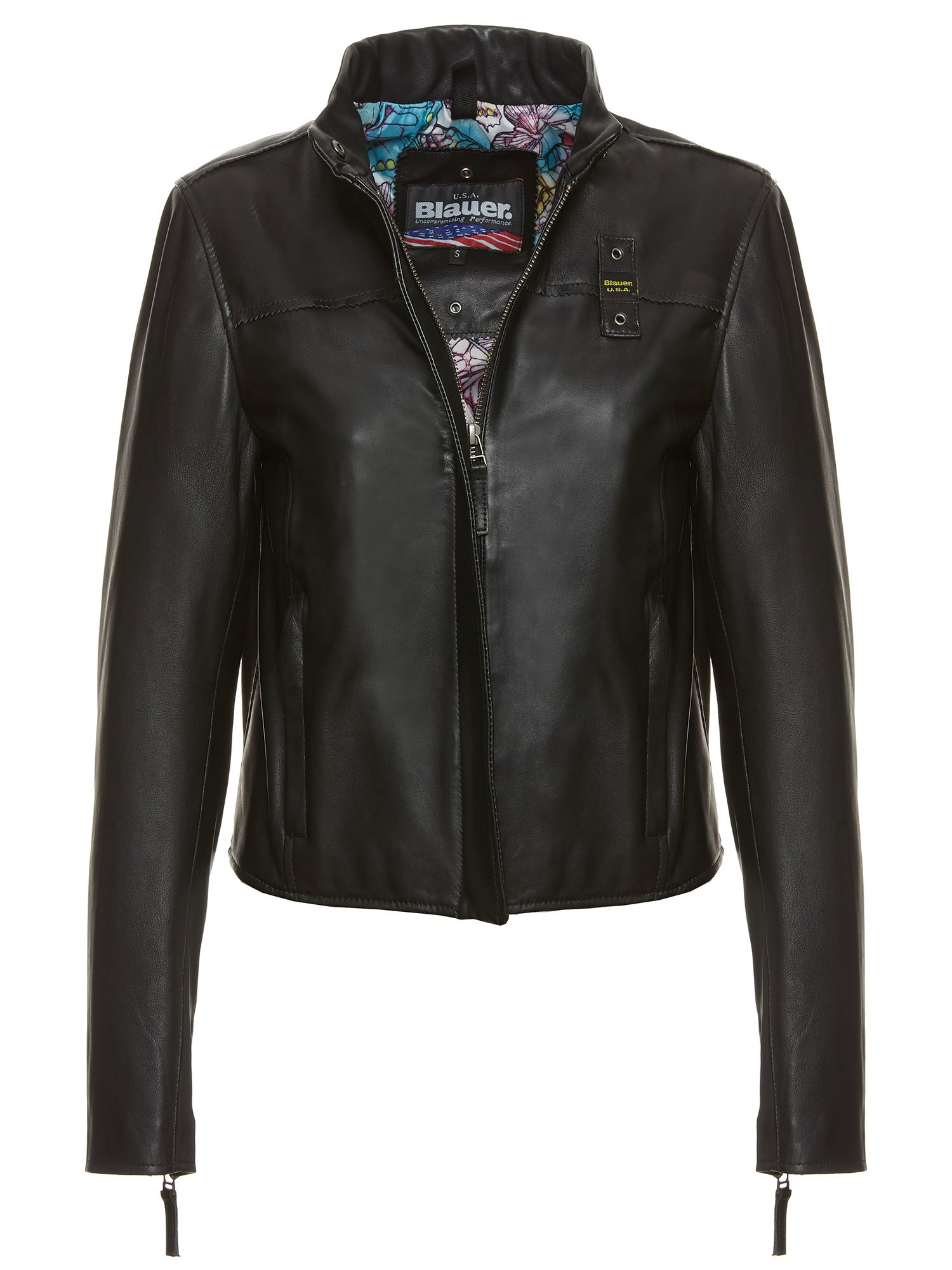 Blauer - SAMANTHA LEATHER BIKER JACKET - Black - Blauer