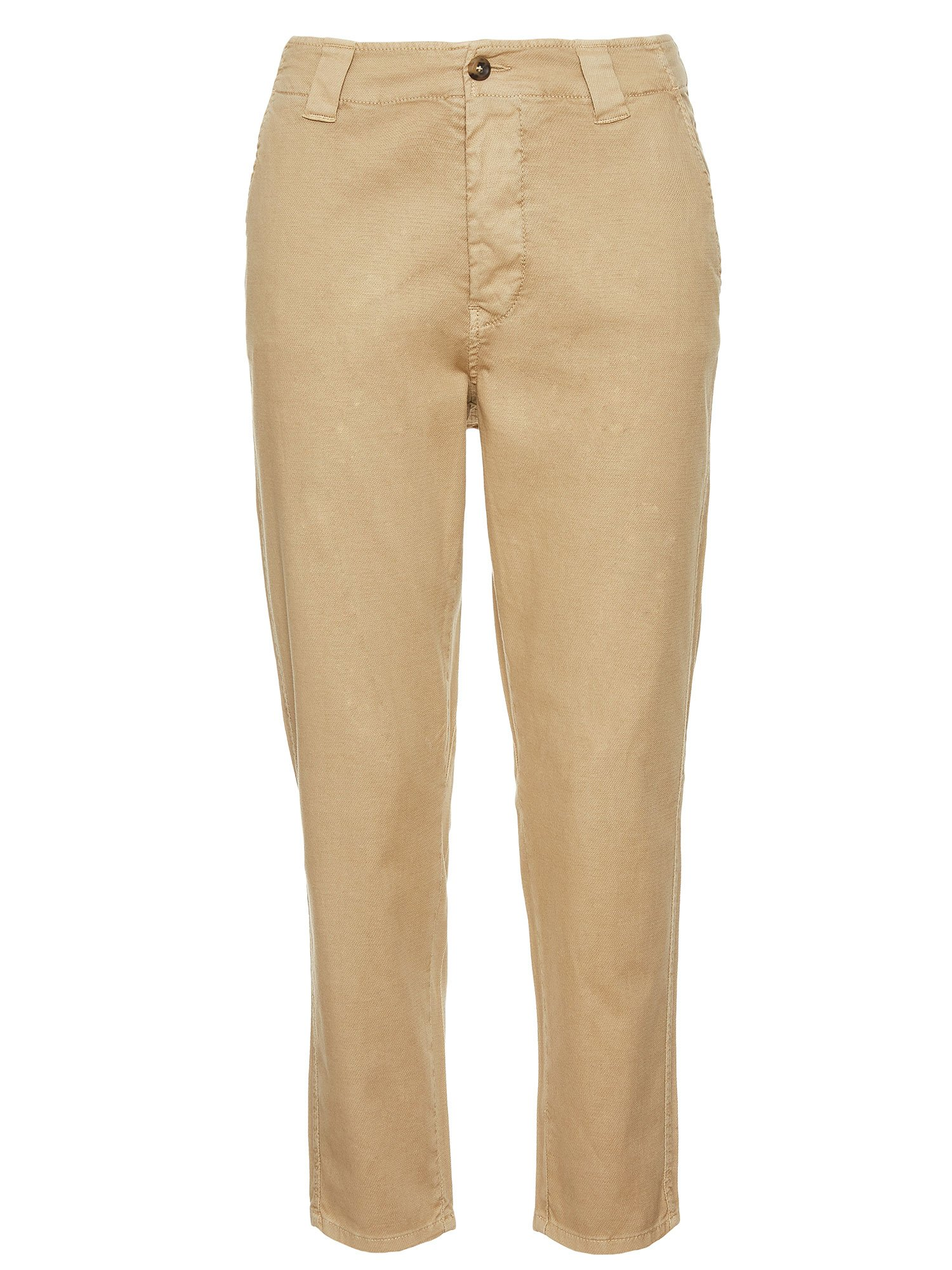 LONG COTTON DOBBY WEAVE TROUSERS - Biscuit - Blauer