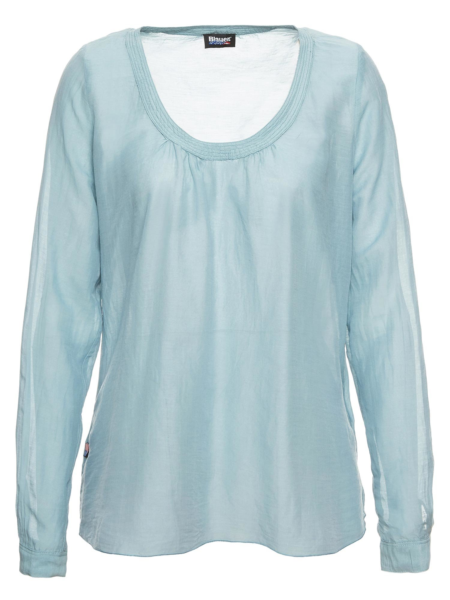 COTTON AND SILK VOILE ROUND NECK SHIRT - Blauer