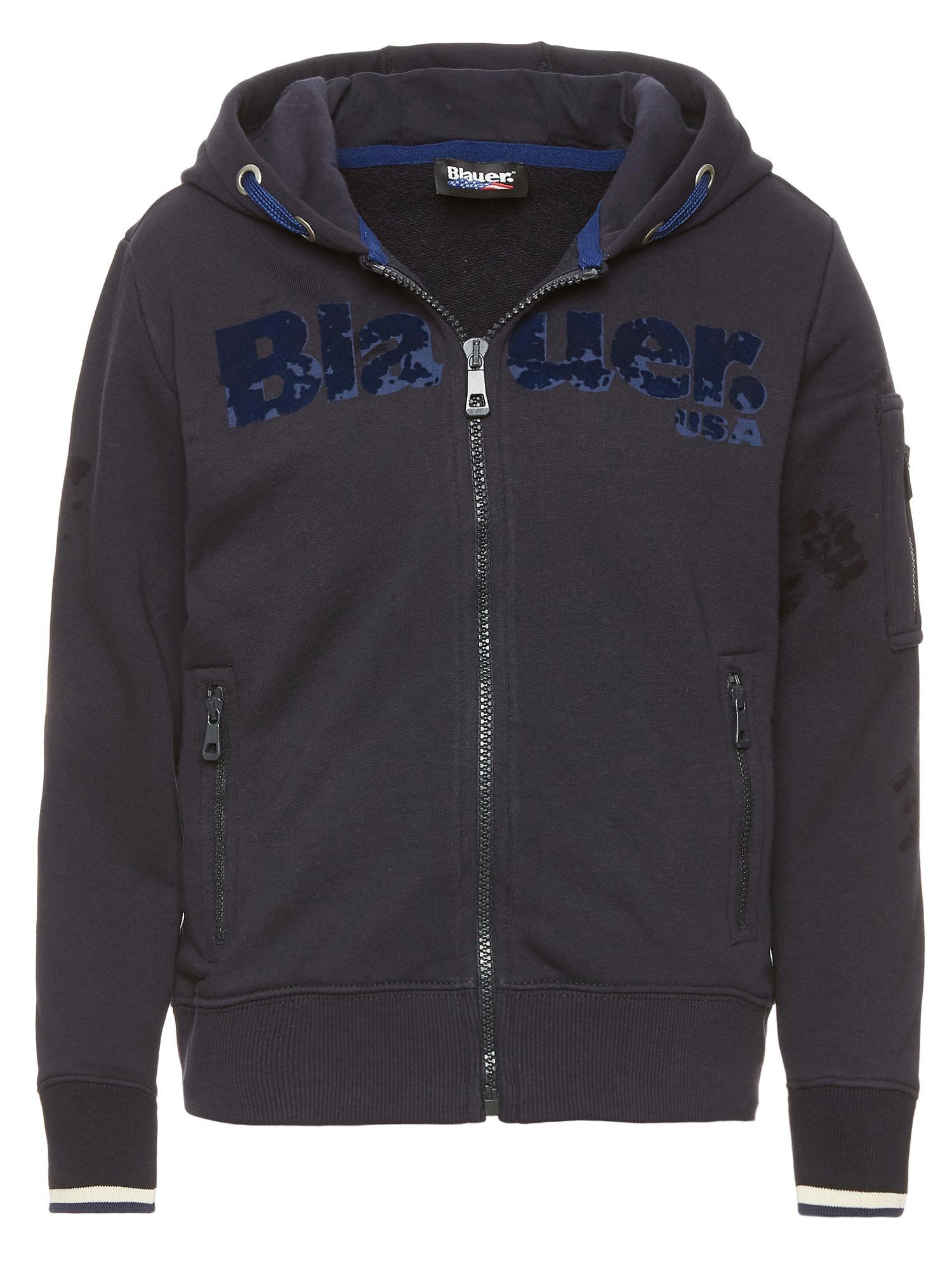 Blauer - KID'S OPEN SWEATSHIRT WITH HOOD - Dark Night Blue - Blauer