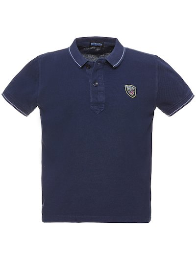 CHILDREN'S PIQUE POLO SHIRT WITH STRIPED RIBBING