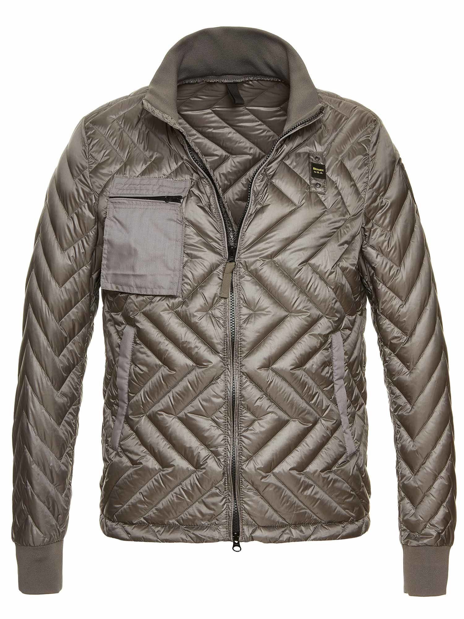 Blauer - NICOLAS ZIG ZAG QUILTED DOWN JACKET - Deep Grey - Blauer