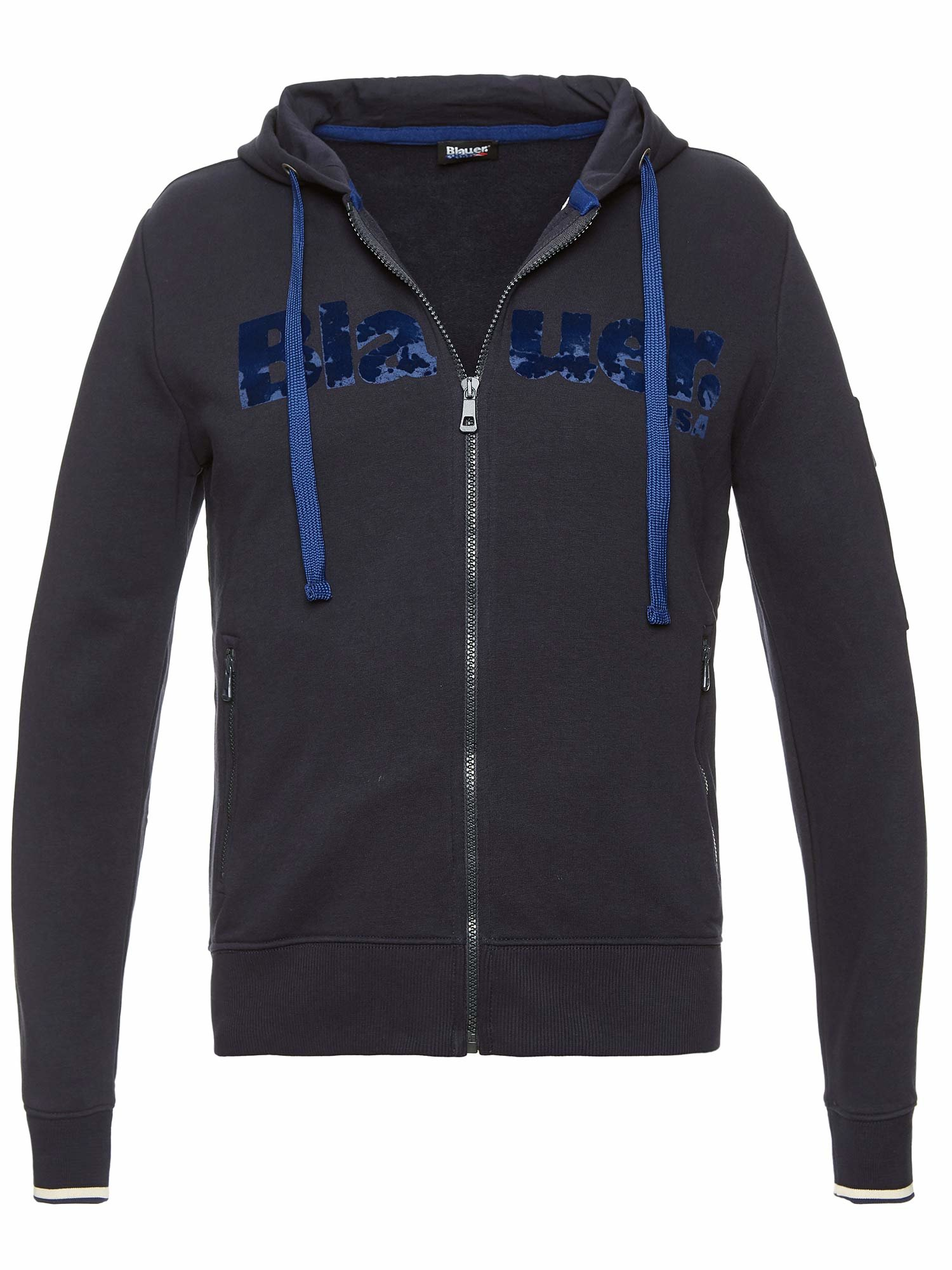 Blauer - OPEN SWEATSHIRT WITH HOOD - Dark Night Blue - Blauer