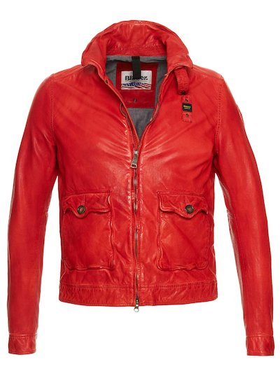 ANTHONY COTTON LINED LEATHER JACKET