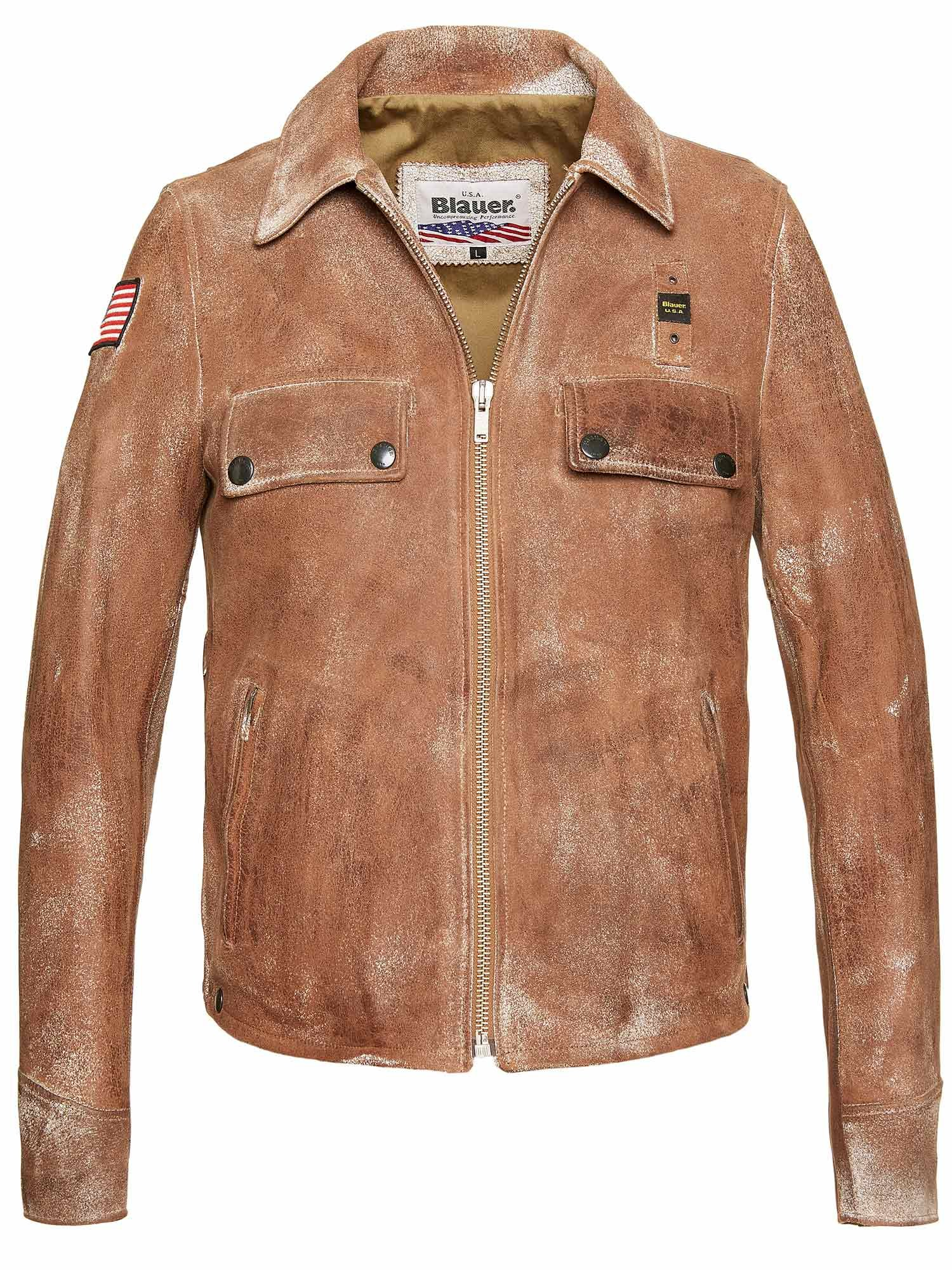 Blauer - TYLER VINTAGE LEATHER JACKET - Gardenia - Blauer