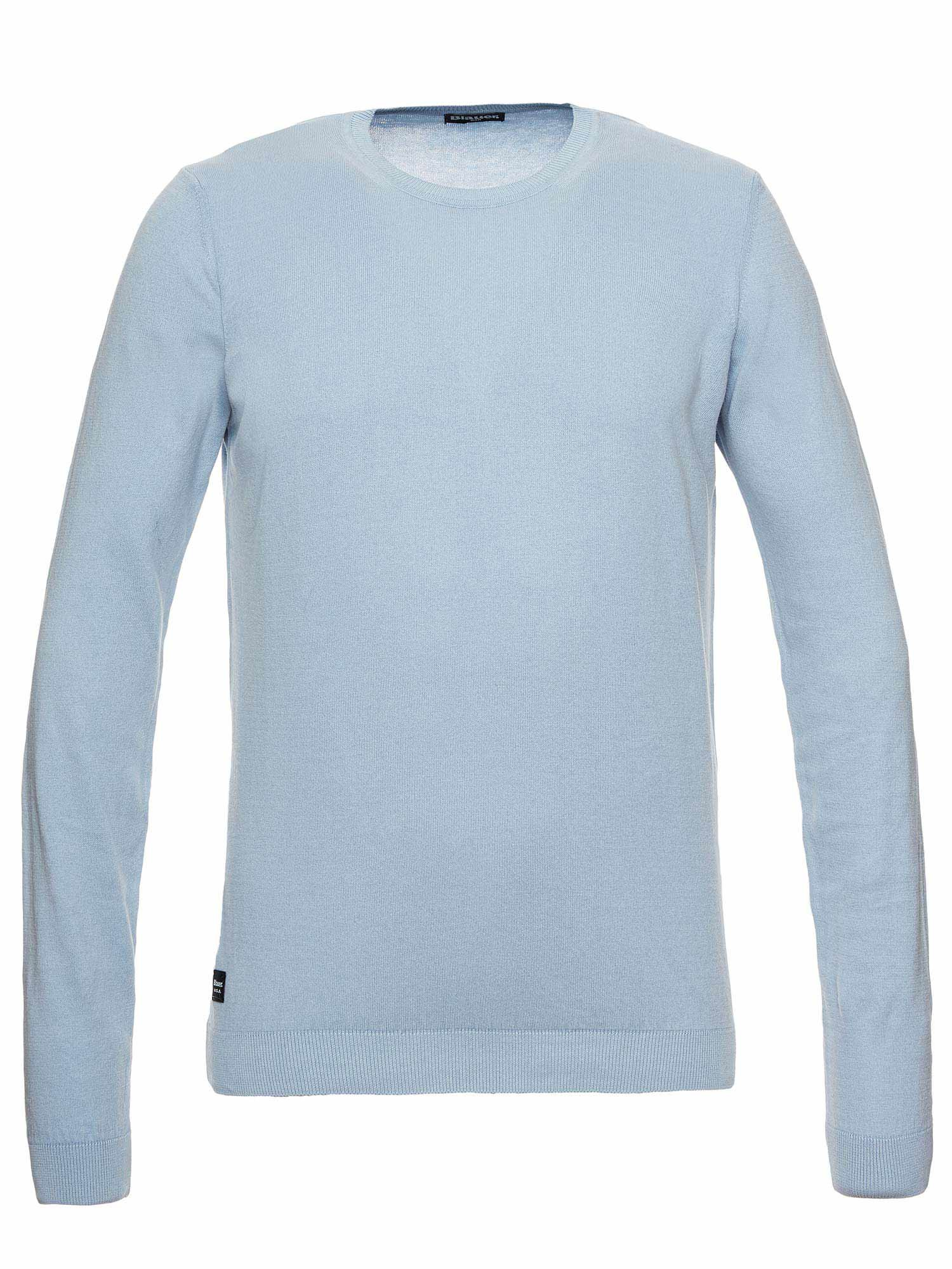 Blauer - COTTON CREW NECK SWEATER - Azure Topaz - Blauer