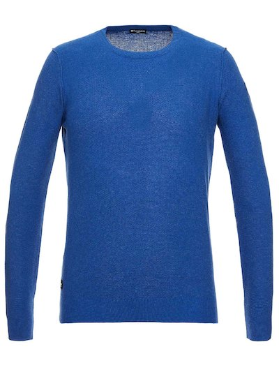 CREW NECK KNIT TOP WITH EMBROIDERED BLAUER LOGO
