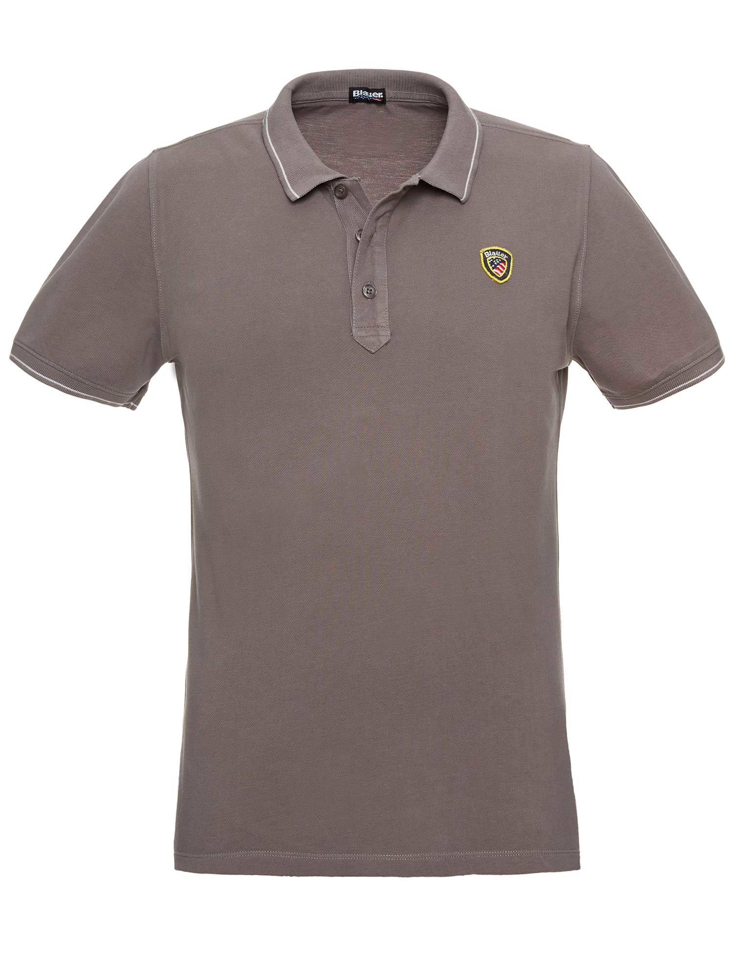 PIQUE POLO SHIRT WITH STRIPED RIBBING - Blauer