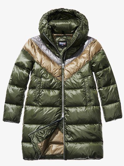 GINEVRA SHINY TRICOLOUR DOWN COAT