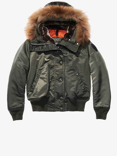 IRENE AVIATOR BOMBER JACKET WITH FUR HOOD