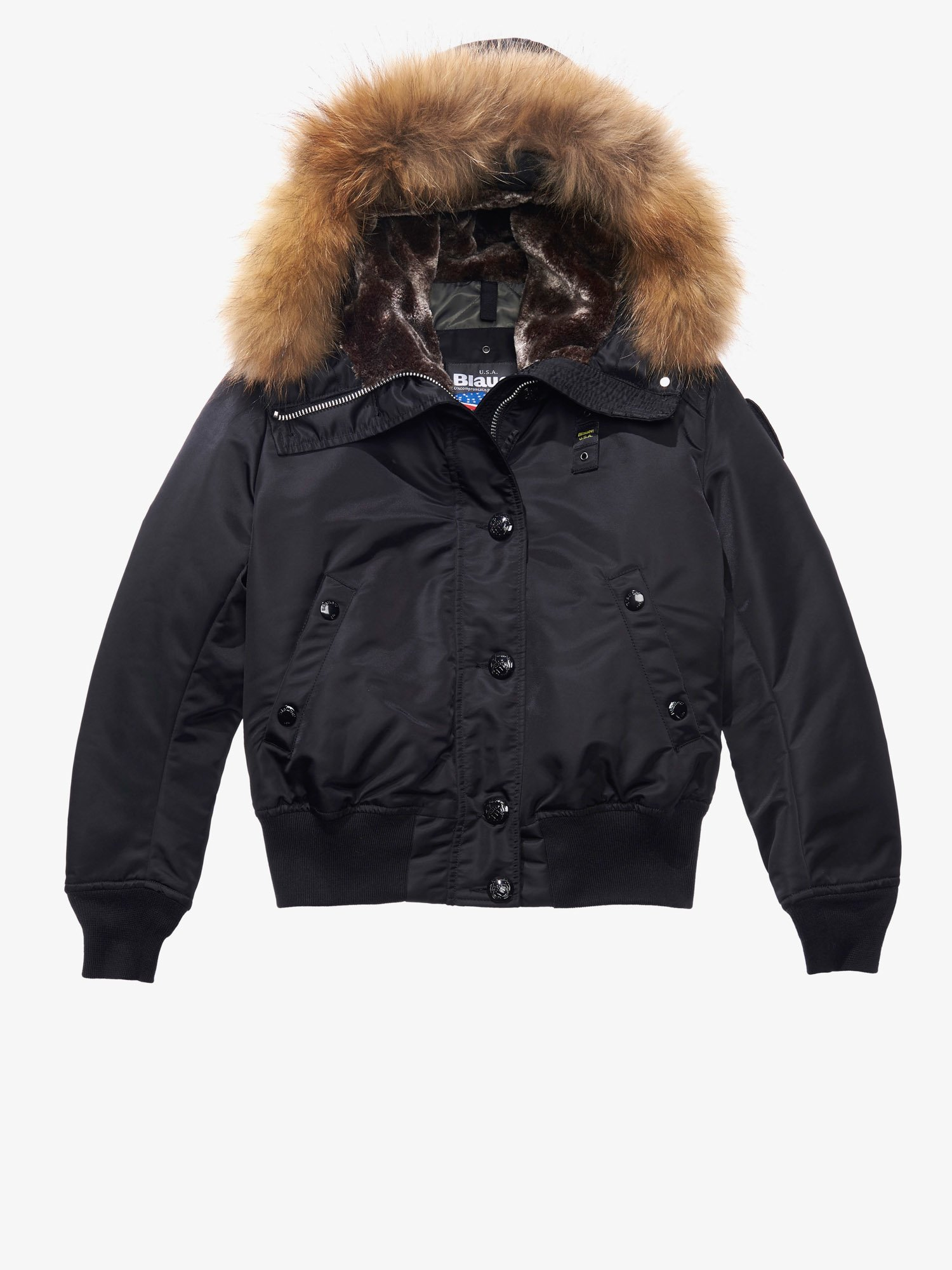 Blauer - IRENE AVIATOR BOMBER JACKET WITH FUR HOOD - Black - Blauer