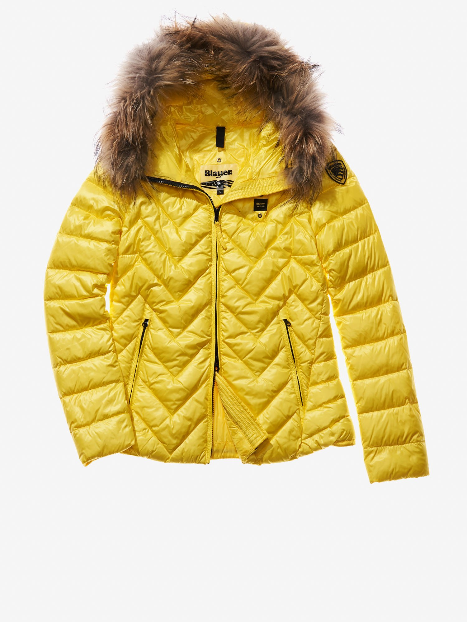 Blauer - SARA ULTRA LIGHT ZIG ZAG-QUILTED DOWN JACKET - Acid Yellow - Blauer