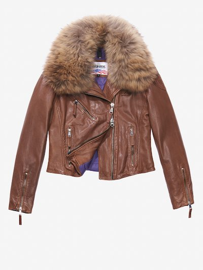 ADELE LEATHER JACKET WITH FUR COLLAR