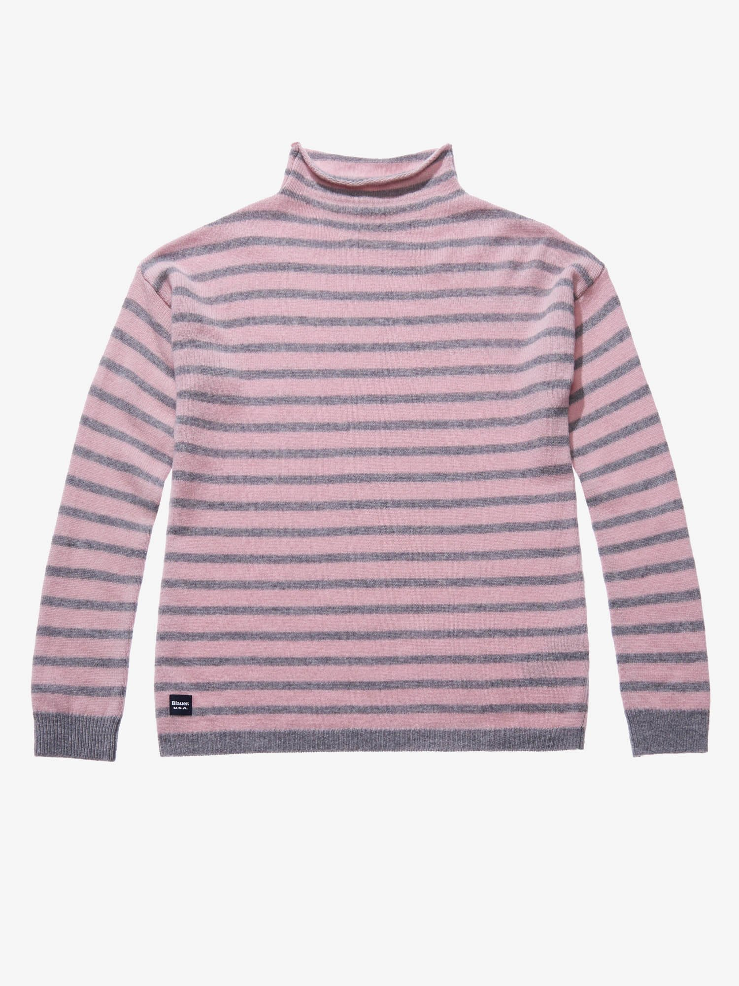 STRIPED WOOL AND CASHMERE TURTLENECK - Blauer