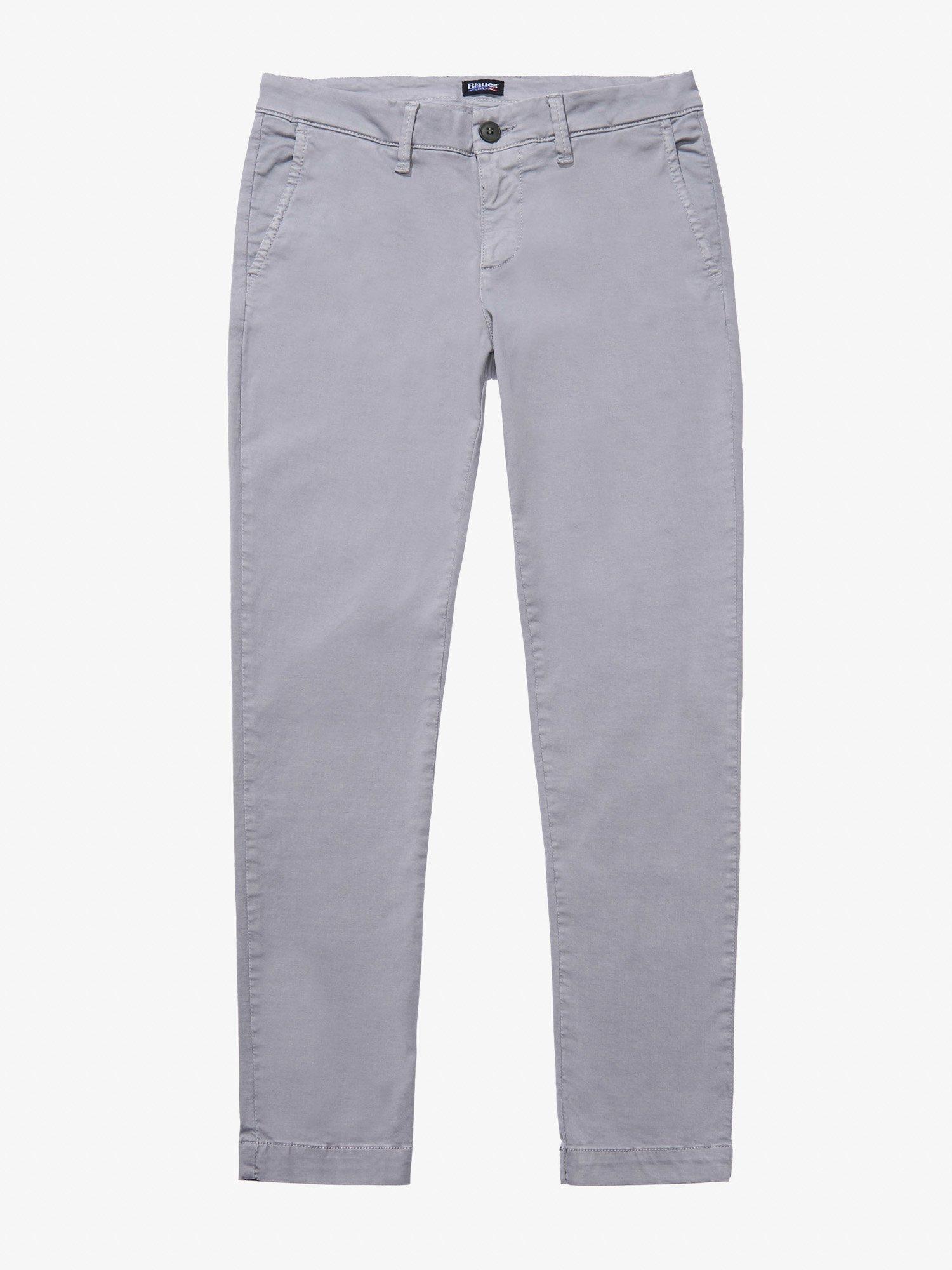 Blauer - SATIN STRETCH PANTS - Cloudy Grey - Blauer