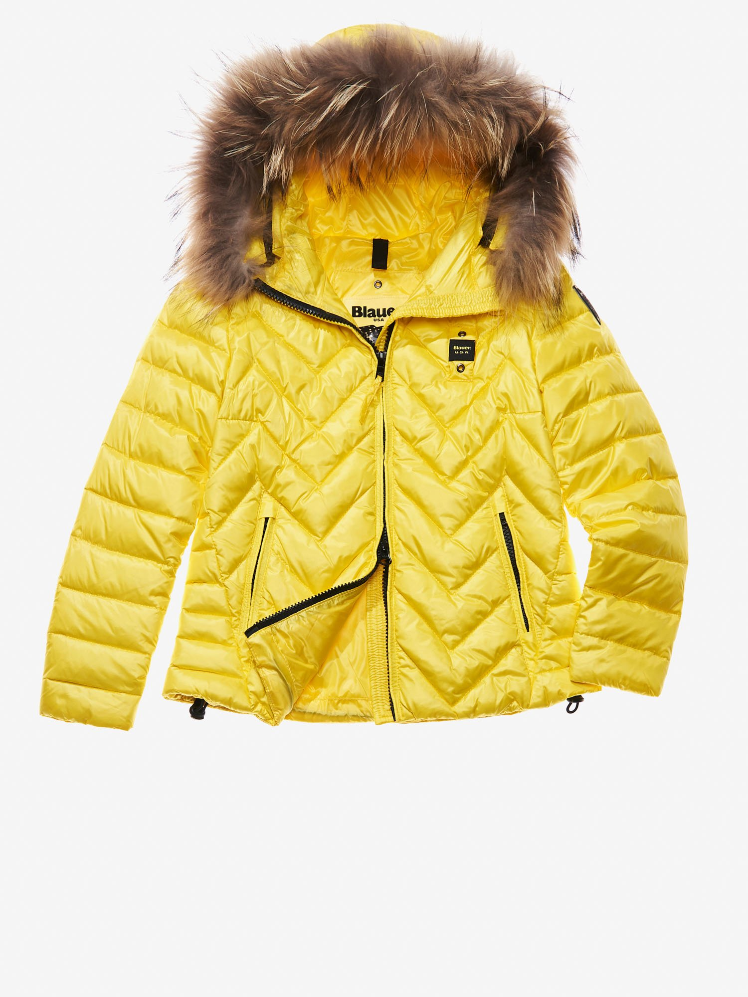 Blauer - ASIA ZIG ZAG-QUILTED DOWN JACKET WITH ATTACHED HOOD - Acid Yellow - Blauer