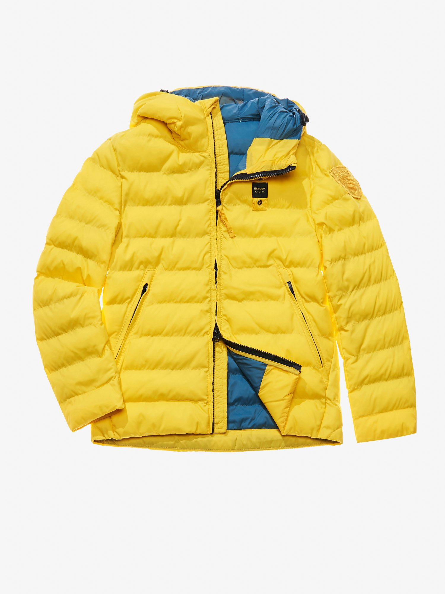 Blauer - JAGO NYLON MICRO RIP DOWN JACKET WITH HOOD - Acid Yellow - Blauer