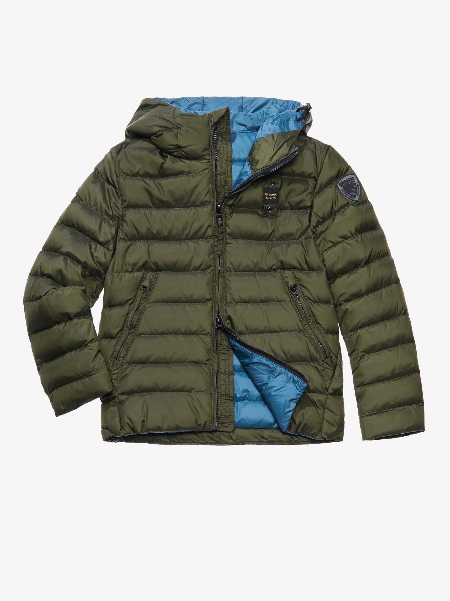 Blauer - ACHILLE DOWN JACKET WITH HOOD - Alga Kombu Inside Green Hydro - Blauer