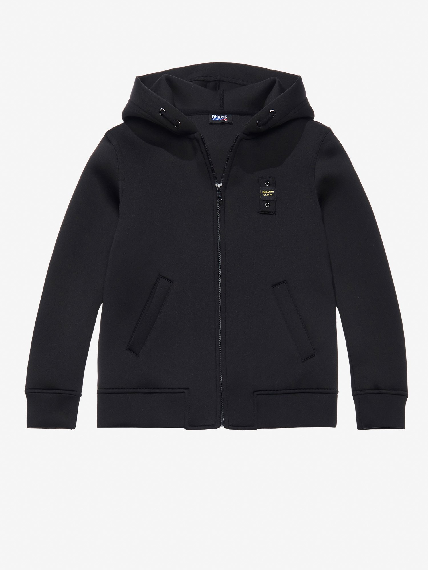 Blauer - NEOPRENE HOODED SWEATSHIRT - Black - Blauer