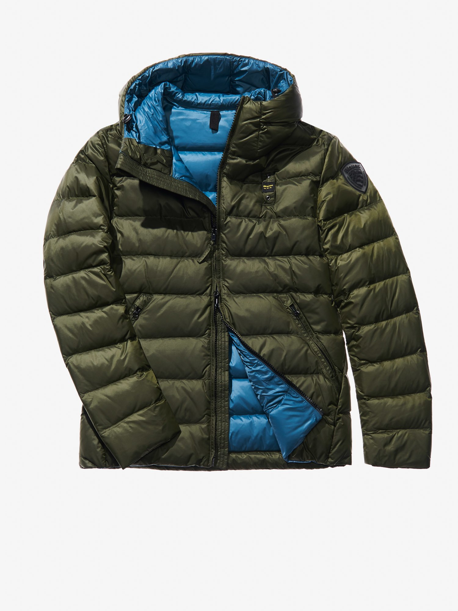 Blauer - RICCARDO ULTRA LIGHT DOWN JACKET WITH ATTACHED HOOD - Alga Kombu Inside Green Hydro - Blauer